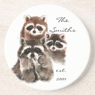 Custom Date Monogram Family Cute Raccoons Coaster