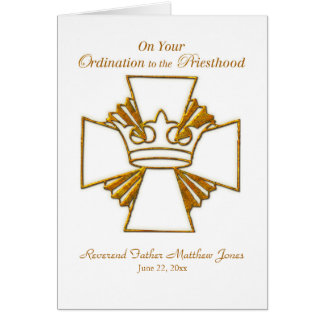 Custom Date, Name Priest Ordination Congratulation Card