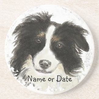 Custom Date or Name Border Collie, Pet, Dog Drink Coasters