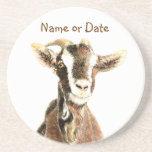 Custom Date or Name Goat, Farm Animal Beverage Coaster