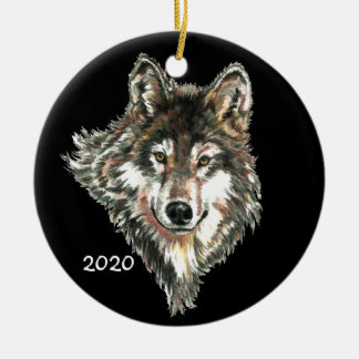 Custom Date or Text Wolf Head logo Watercolor art Ceramic Ornament