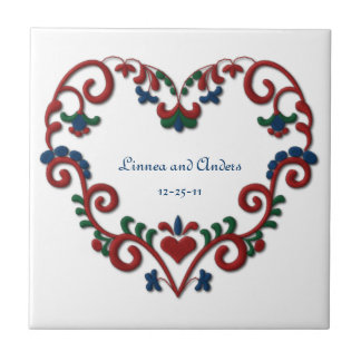 Custom Date Wedding Anniversary Scandinavian Heart Small Square Tile