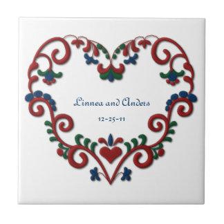 Custom Date Wedding Anniversary Scandinavian Heart Small Square Tile