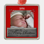 Custom Dated Baby Photo Christmas Ornament