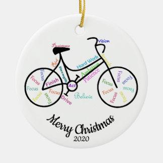 Custom Dated Christimas Motivational Cycle Words Ceramic Ornament