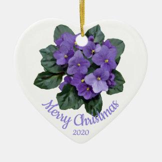 Custom Dated Christmas African Violet flower Ceramic Ornament