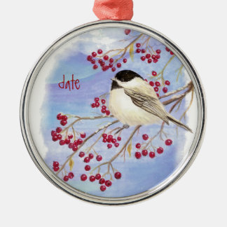 Custom Dated Christmas Chickadee Bird & Berries Metal Ornament