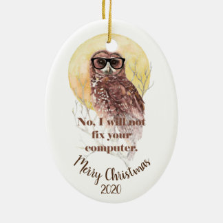 Custom Dated Christmas Computer Geek Fun Owl Ceramic Ornament