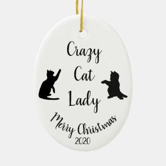 Custom Dated Christmas Fun Crazy Cat Lady Ceramic Ornament