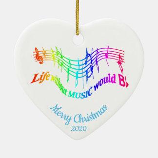 Custom Dated Christmas Inspirational Music Quote Ceramic Ornament
