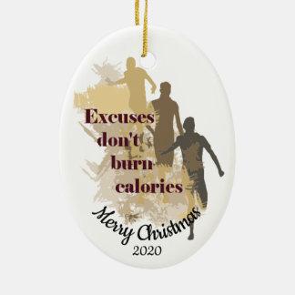 Custom Dated Christmas Inspirational Running Quote Ceramic Ornament