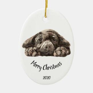 Custom Dated Christmas  Labrador Retriever Ceramic Ornament