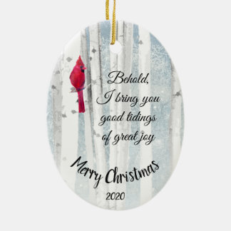 Custom Dated Christmas Luke 2:10 Great Joy Ceramic Ornament