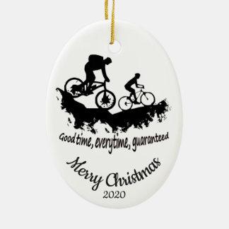 Custom Dated Christmas Mountain Biking Quote Ceramic Ornament