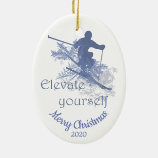 Custom Dated Christmas Skiing Quote Inspirational Ceramic Ornament