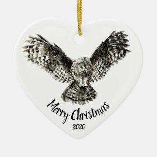 Custom Dated Christmas Striking Owl Bird Ceramic Ornament