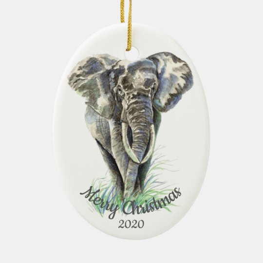 Custom Dated Christmas Watercolor Elephant Ceramic Ornament