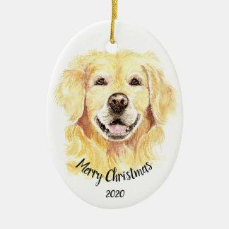 Custom Dated Christmas Watercolor Golden Retriever Ceramic Ornament