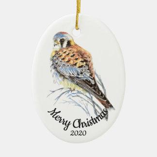 Custom Dated Christmas Watercolor Kestrel, Falcon Ceramic Ornament