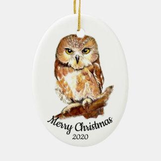 Custom Dated Christmas  Watercolor Owl Bird Ceramic Ornament