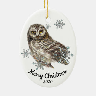 Custom Dated Christmas Watercolor Owl Bird Snow Ceramic Ornament