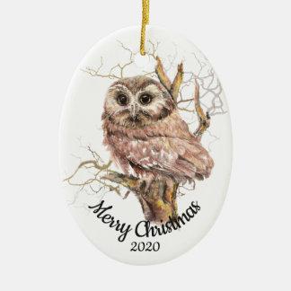 Custom Dated Christmas Watercolor Owl in Tree Ceramic Ornament