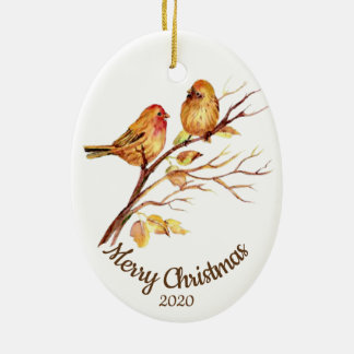 Custom Dated Christmas Watercolor Sparrow Birds Ceramic Ornament