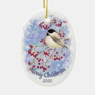 Custom Dated Christmas Watercolor Winter Chickadee Ceramic Ornament