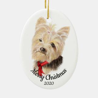 Custom Dated Christmas Yorkshire Terrier Dog Pet Ceramic Ornament