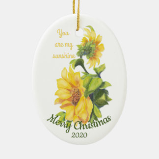 Custom Dated Christmas You are my Sunshine Quote Ceramic Ornament
