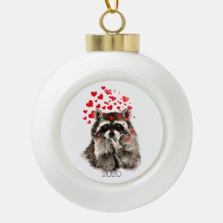 Custom Dated Cute Raccoon Animal Funny Love Hearts Ornament