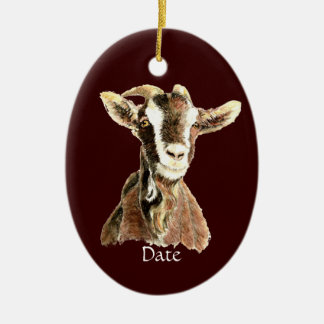 Custom Dated Cute Watercolor Goat Farm Animal Ceramic Ornament