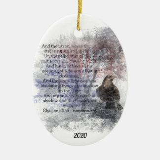 Custom Dated Edgar Allan Poe The Raven Poem Art Ceramic Ornament