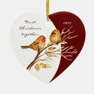 "Custom Dated ""First Christmas together"" Bird Pair Double-Sided Heart Ceramic Christmas Ornament"