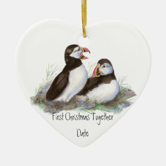 Custom Dated First Christmas Together Puffins Bird Double-Sided Heart Ceramic Christmas Ornament