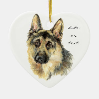 Custom Dated German Shepherd, Dog Pet, Animal Ceramic Ornament