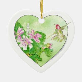 Custom Dated Hummingbird Watercolor Bird, Animal Ceramic Ornament