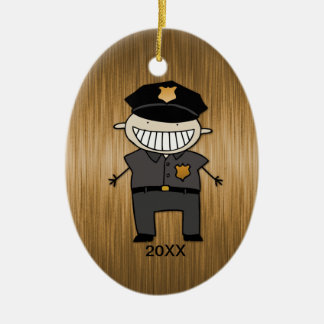 Custom Dated Police Officer Cartoon Ceramic Ornament