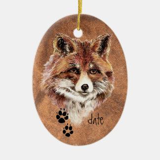 Custom Dated Red Fox Tracks, Watercolor Animal Art Ceramic Ornament