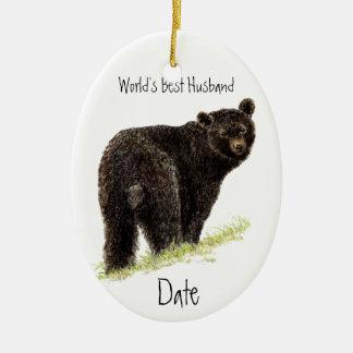Custom Dated World's Best Husband Black Bear Ceramic Ornament