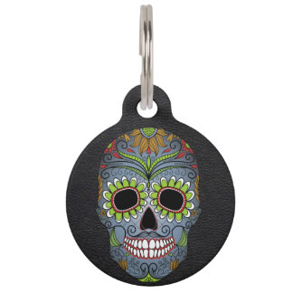 Custom Day of the Dead Skull Dog Pet Tag