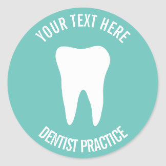 Custom dentist dental office dentistry tooth logo classic round sticker