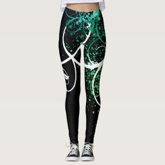 Custom Designed Leggings w Green and White Vine