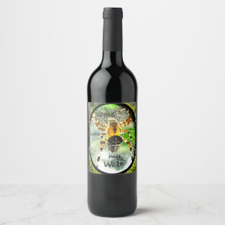 Custom designed Spider web wine bottle label