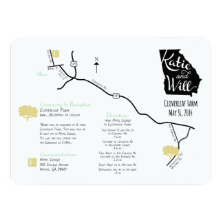 Custom designed Wedding Map Card