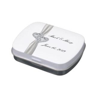 Custom  Diamond Hearts White Ribbon Candy Tin