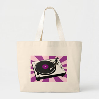 Custom Disco Turntable Retro Record Large Tote Bag