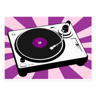Custom Disco Turntable Retro Record Postcard