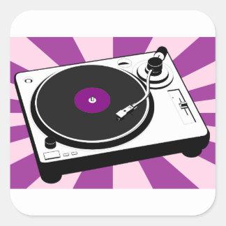 Custom Disco Turntable Retro Record Square Sticker
