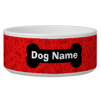 Custom Dog Bowl with Pet Name Bones and Paw Prints